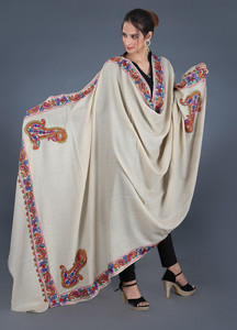 Sanaulla Exclusive Range Pashmina Embroidered Shawl 297 - Kashmiri Shawls