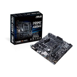 ASUS PRIME A320M-E AMD AM4 uATX motherboard with LED lighting  DDR4 3200MHz  32Gb/s M.2  HDMI  SATA 6Gb/s  USB 3.1 Gen 2