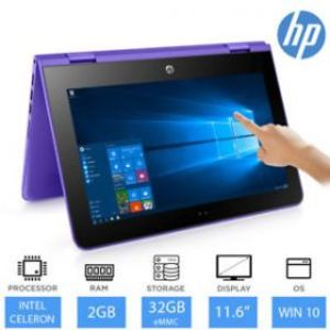 """HP Stream x360 11 - AA000 - Intel Celeron 02GB 32GB eMMC 11.6"""" HD LED Touchscreen Convertible W10 (Colors Available, Open Box)"""